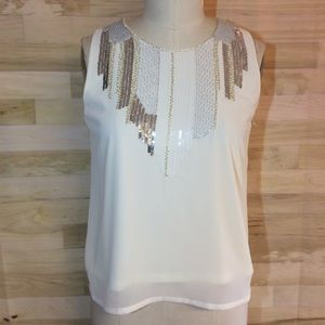 Cien Cream Sequin/Beaded Front Lined Chiffon Cami